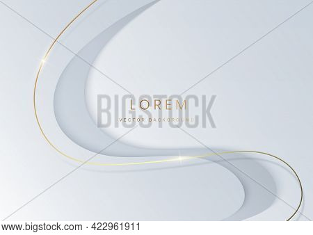 Abstract White Luxury Background 3d Overlapping With Gold Lines Curve. Luxury Style. Vector Illustra