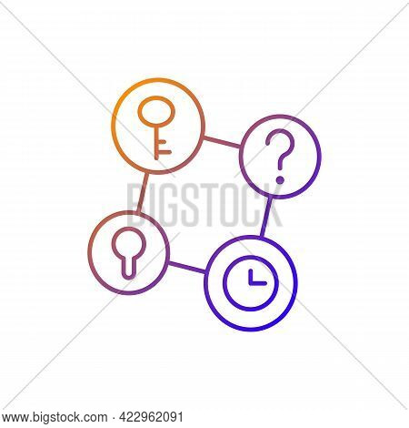Connecting Facts Gradient Linear Vector Icon. Mind Game. Analyze Question. Solving Puzzles, Clues Fo