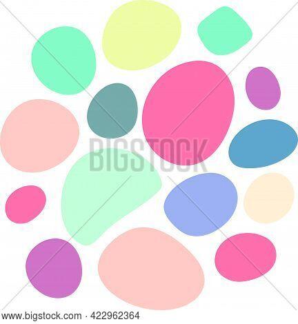 Abstract Circle Random Blotch Inkblot Round. Organic Blob Blot Shape Splat Drop Of Liquid Fluid. Peb