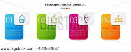 Set Line Cake, Pudding Custard, Ice Cream And With Burning Candles. Business Infographic Template. V