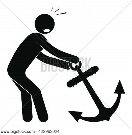 Sailor, Stick Man Pulls Heavy Boat Anchor. Performing An Impossible Task. Isolated Vector On White B