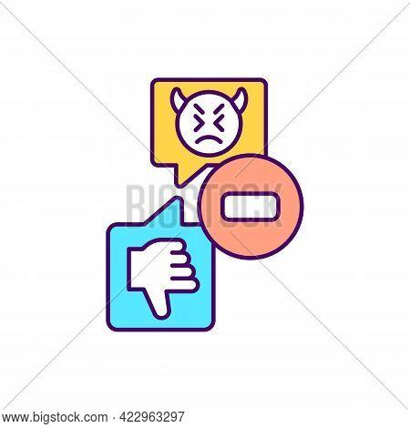 Receiving Dislikes On Social Media Rgb Color Icon. Negative Emotional Response. Hate Speech Psycholo