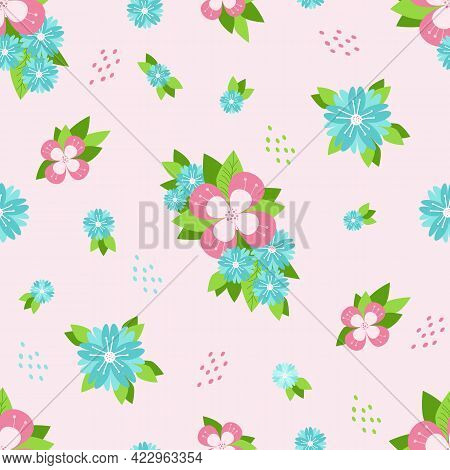 Seamless Pattern. Multicolored Flowers And Leaves On A Light Pink Background. Vector Illustration. B