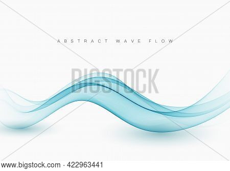 Abstract Blue Wave Vector Background Blue Wave Flow Background