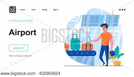 Airport Web Concept. Male Pick Up His Luggage, Arrival At Destination Country, Flights Travel. Templ