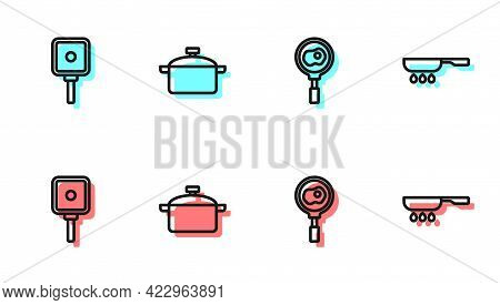 Set Line Fried Eggs On Frying Pan, Frying, Cooking Pot And Icon. Vector