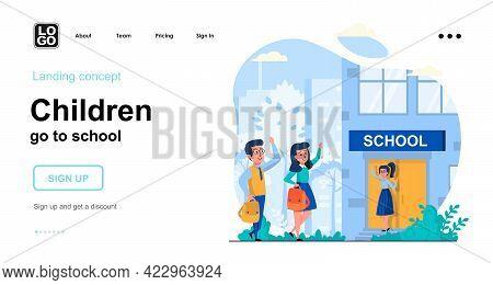 Children Go To School Web Concept. Schoolchildren Go To Lessons Together. Teacher Greets Pupils. Tem