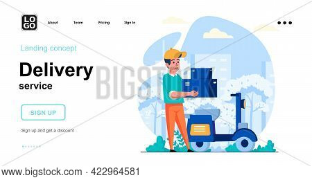 Delivery Service Web Concept. Courier On Motorcycle Carries Parcels Boxes, Fast Delivery At Home. Te