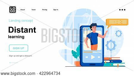 Distant Learning Web Concept. E-learning From Smartphone. Teaching In Video Lesson. Online Education