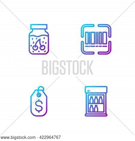 Set Line Commercial Refrigerator, Price Tag With Dollar, Jam Jar And Scanner Scanning Bar Code. Grad