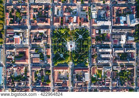 Bjelovar City Center And Central Square Aerial View, Bilogora Region Of Croatia