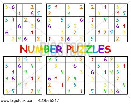 Number Puzzles Sudoku Set For Kids Vector Illustration. Educational Cartoon Sudoku Game Six By Six F