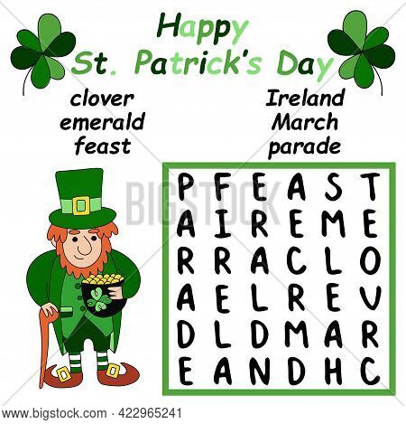 Happy St Patrick's Day Word Search Puzzle Vector Illustration. Educational Cognitive Puzzle With Iri