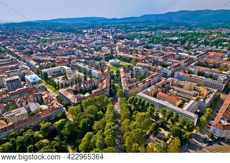 Zagreb Aerial. The Mestrovic Pavillion And Town Of Zagreb Aerial View. Capital Of Croatia.