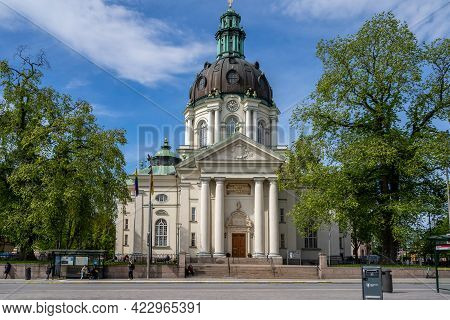 Stockholm, Sweden - May 25, 2021: Horizontal Front View Of The Old Lutheran Gustav Vasa Church With