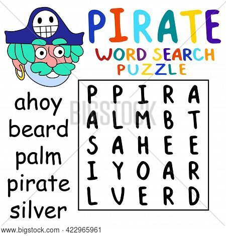 Cartoon Pirate Captain Word Search Puzzle Activity Page For Kids Vector Illustration. Simple Educati