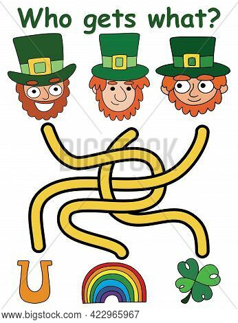 Who Gets What? - Children Maze Game For Patrick Day Vector Illustration. Funny Colorful Vertical Pri