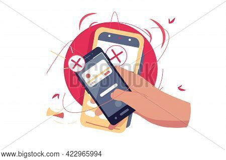 Refused Contactless Payment Via Smartphone Vector Illustration. Mobile Phone Screen With Cancelled O