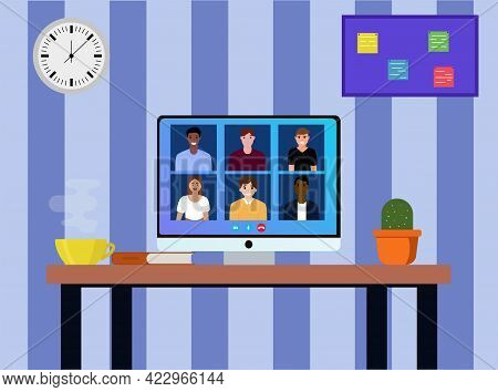 Video Conference With People. Working Meeting. Conference Video Call. Working Place