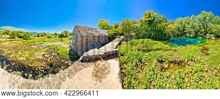 Old Stone Mill Ruins On Cetina River Source Panoramic View, Dalmatian Zagora Region Of Croatia