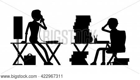 Male Black Silhouette, Businessman, Busy Office Worker At Desk, Phone. Administrative Manager Person