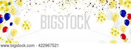 Golden Effect Balloons And Gold Confetti Falling On The Background. Greeting Card