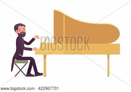 Musician, Elegant Tuxedo Man Playing Professional Grand Piano Instrument. Classical Music Event, Con