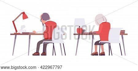 Old Teacher, Female, Male Senior Professor, University Tutor At Desk. Busy Elderly Master, Aged Educ