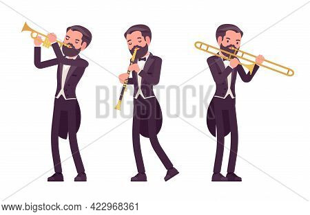 Musician, Elegant Tuxedo Man Playing Professional Wind Instruments. Classical Music Event, Concert,