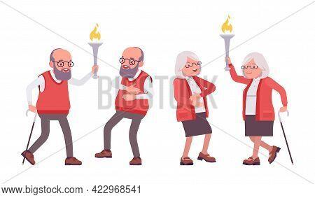 Old Happy Teacher In Positive Emotions, Female, Male Senior Professor, University, School, College T