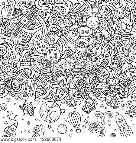 Cartoon Cute Doodles Space Frame Card. Sketchy Detailed, With Lots Of Objects Background. All Object