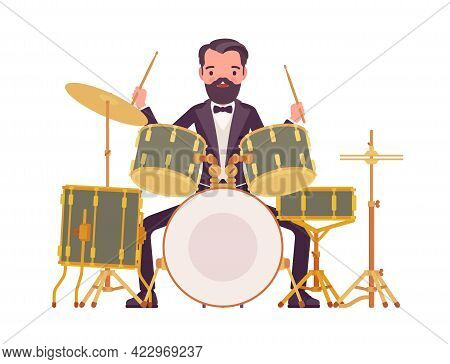 Musician, Elegant Tuxedo Man Playing Professional Drum Instruments, Percussion Set. Classical Music