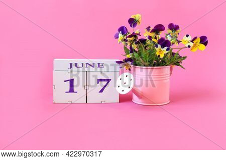 Calendar For June 17 : The Name Of The Month Of June In English, Cubes With The Number 17, A Bouquet