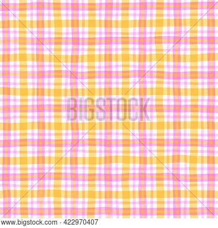 Red Pink Orange Yellow Vintage Checkered Background. Space For Graphic Design. Checkered Texture. Cl
