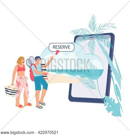 Online Booking And Resort Mobile App Concept With Young Couple Arrange Their Journey And Summer Vaca
