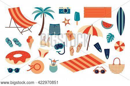 Summer Beach Set. Cartoon Sea And Ocean Recreation Attributes, Parasol Sunglasses Ball Slippers And