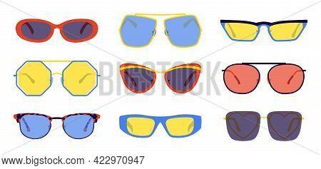Cartoon Sunglasses. Trendy Retro Glasses Collection, Fashion Summer Color Accessory, Hipster Fashion