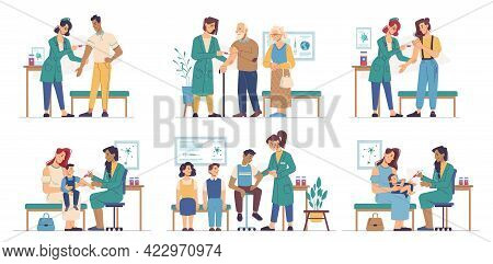 Vaccination People Of Different Ages In Clinic Isolated Flat Cartoon Set. Immunization Of Adult, Sen