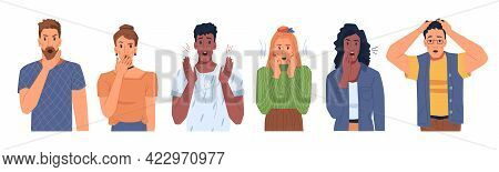 Shocked Scared People Faces Set Isolated Flat Cartoon Portraits. Man And Woman In Stress, Panicked O