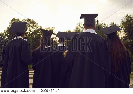 Back View Of College Or University Graduates In Black Caps And Gowns At Graduation Ceremony