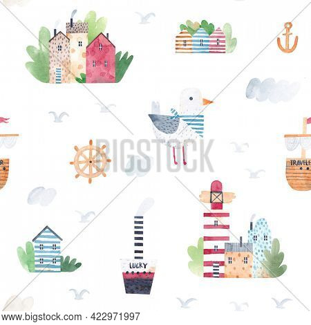Watercolor seamless pattern. Childish texture with beach houses, ships, lighthouse and funny seagull. Creative childish background for fabric, textile, nursery wallpaper. Hand drawn.