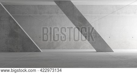 Abstract Empty, Modern Concrete Room With Indirect Lighting From Right With Diagonal Pillar And Roug