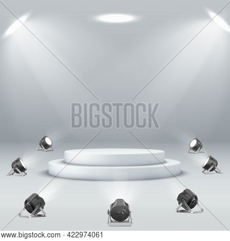 Empty White Round Podium Surrounded By Spotlights Spotlight Podium On White Background.