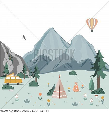 Summer Camping Landscape. Morning In The Mountains. Weekend In The Tent. Hiking And Camping. Vector
