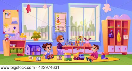 Boys And Girl At Kindergarten Or Daycare Playing Toys Together. Communication And Socialization Of C