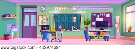 Elementary School Classroom With Furniture And Decoration For Kids. Modern Interior With Gadgets For