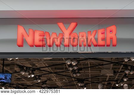 New Yorker - The Logo Of The Clothing Store On The Facade. European Clothing Boutique Chain. Krasnoy