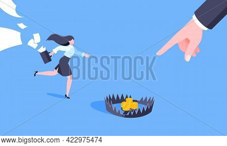 Money Trap Business Concept. Young Adult Businesswoman Running To Catch The Coin Money In The Steel