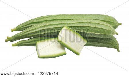 Green Luffa Acutangula Isolated On White Background