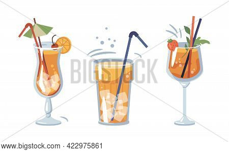 Alcoholic Or Non-alcoholic Beverages Served With Ice And Decorative Straws And Umbrellas. Drinks Wit